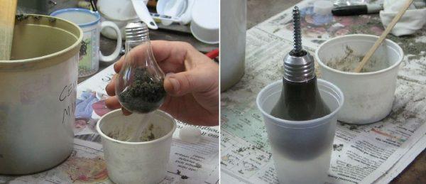 Заполнение лампочки цементным раствором