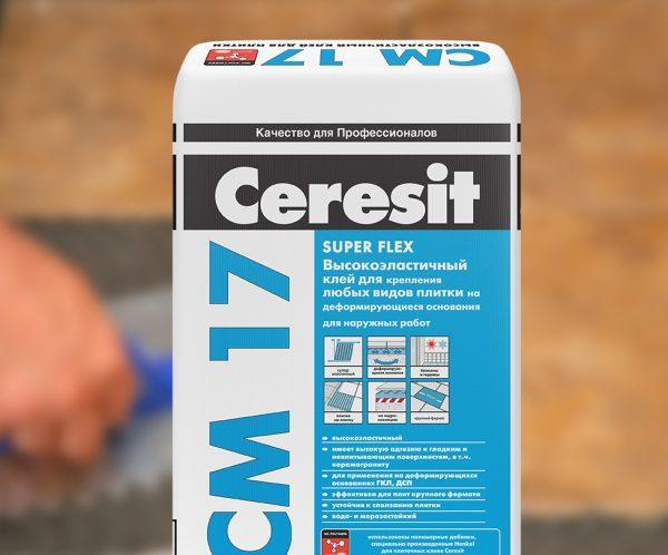 Высокоэластичный клей для плитки Ceresit СМ17