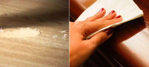 Удаление воска со стола