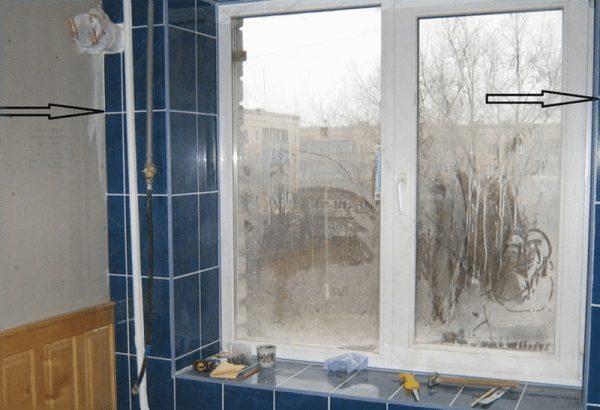 Отделка откосов окна плиткой