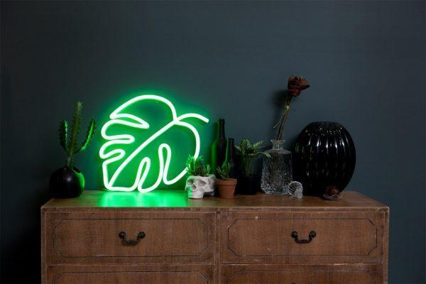 Неоновая надпись рядом с комнатными растениями