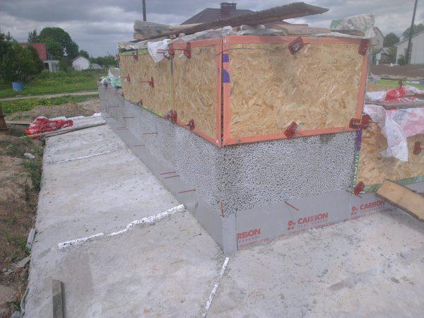 Заливка стен керамобетоном