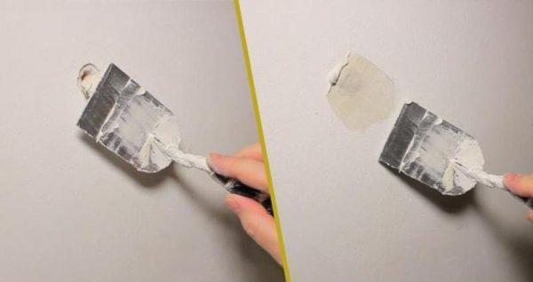 Шпатлевание дырки в стене