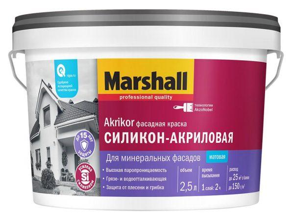 Силикон-акриловая фасадная краска Marshall Akrikor