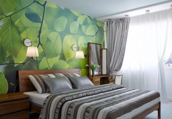 Спальня в экостиле с фотообоями