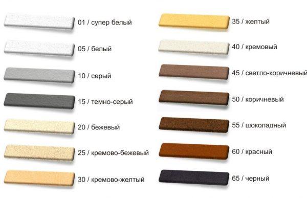 Цветовая палитра затирок Perel