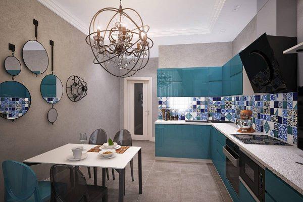 Кухня с зеркалами на стене