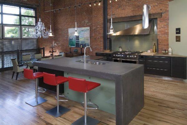 Кухонный остров из бетона