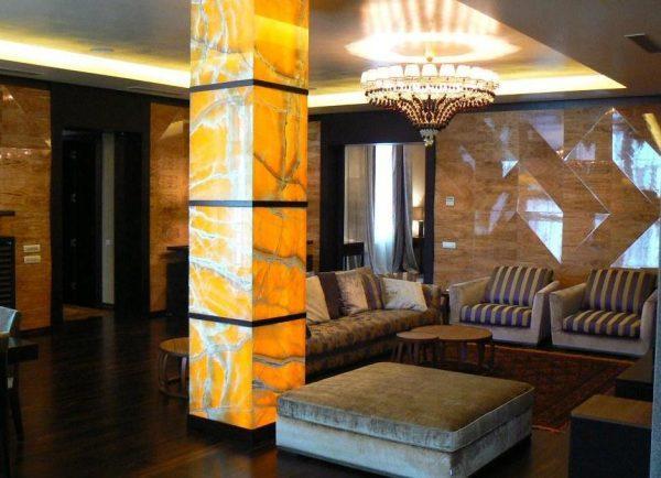 Оформление колонн в квартире