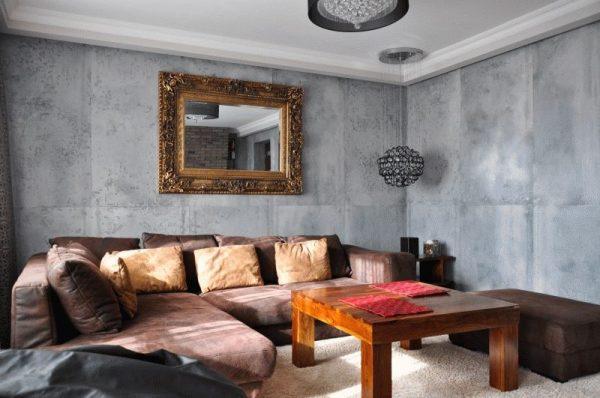 Сочетание мебели и бетонных стен