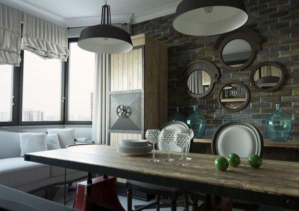 Зеркала на кухне в стиле лофт