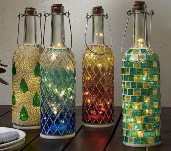 Бутылки стеклянные декорированные