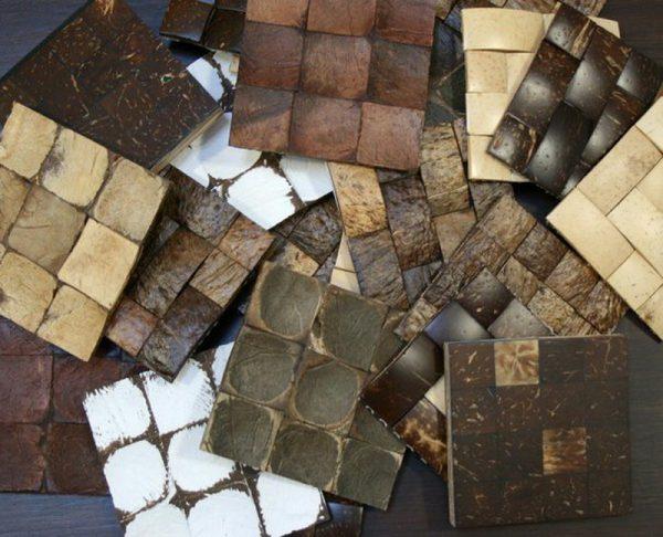 Деревянные плитки с кокосом