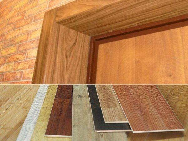 Использование остатков ламинированного паркета для отделки дверных откосов