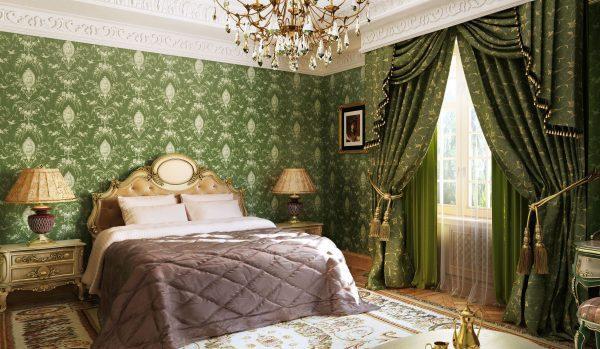 Зеленая спальня в стиле Барокко