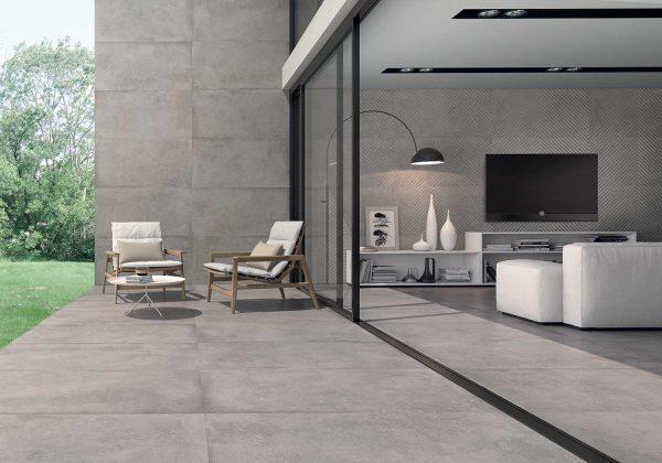 Имитация бетона обрезной плиткой