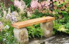 Садовая скамья из камня и дерева
