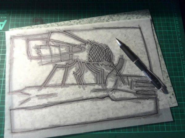 Эскиз для гравюры