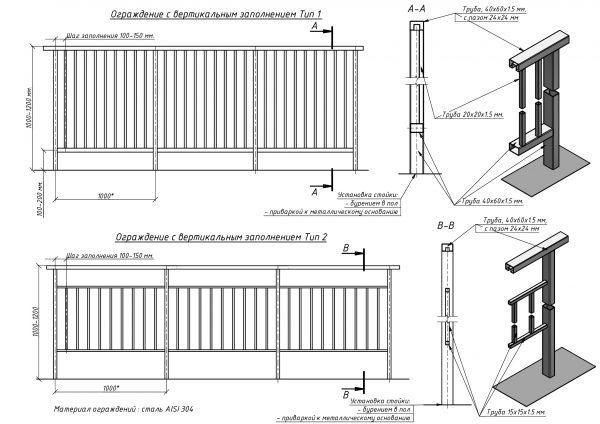 Чертежи балконных ограждений