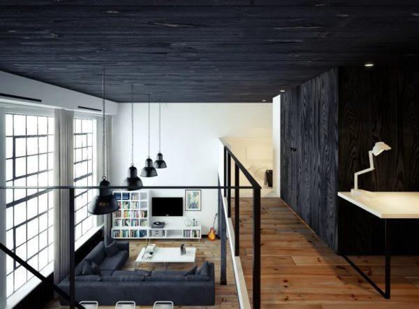 Интерьер в стиле лофт с потолком под дерево
