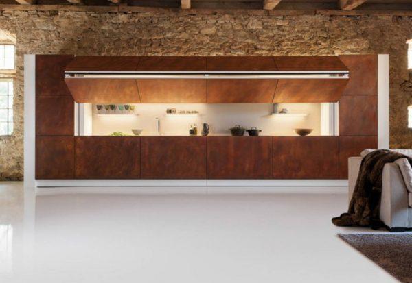 Скрытая кухня в гостиной